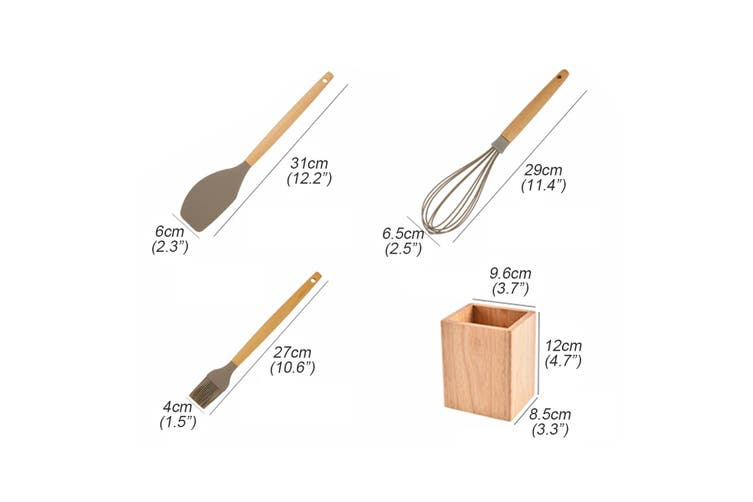 9PCS Silicone Cooking Utensils Set Non-stick Spatula Shovel Wooden Handle Tools