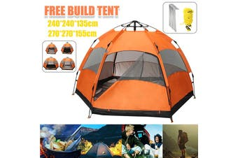Automatic Up Outdoor Hiking Camping Tent Waterproof UV Protection 7-8 Person(small hexagon + moisture-proof pad)