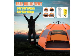 Automatic Up Outdoor Hiking Camping Tent Waterproof UV Protection 7-8 Person(large hexagon with moisture-proof pad)