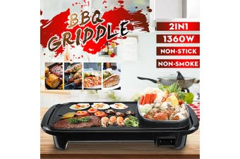 Healthy 2200W 2 IN 1 Electric Grill BBQ Griddle Barbecue Chafing Dish Cooking Hot Plate Stove (EU Plug 800W)