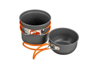 4Pcs Outdoor Camping Cookware Cookset Non-stick Pot Bowl with Nylon Carrying Bag(orange,4PCS/SET (Without Mini Gas Stove))