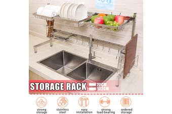 102/72CM 2-Tier Dish Drying Rack Thickened Kitchen Sink Stainless Steel Storage Rack Drain Rack Tableware
