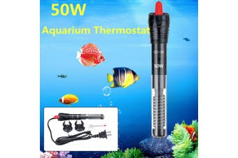 50W Submersible 19cm Aquarium Heater Automatic Thermostat Adjustable Fish Tank Heating Rod with Constant Temperature Thermometer and Suction Cup Accessories