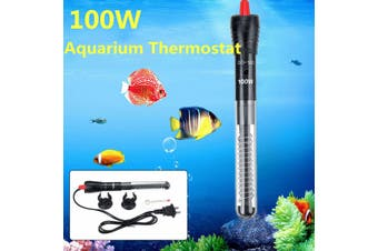 100W Submersible 21cm Aquarium Heater Automatic Thermostat Adjustable Fish Tank Heating Rod with Constant Temperature Thermometer and Suction Cup Accessories