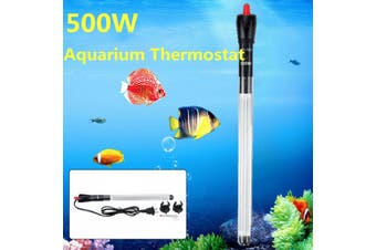 500W Submersible 37.5cm Aquarium Heater Automatic Thermostat Adjustable Fish Tank Heating Rod with Constant Temperature Thermometer and Suction Cup Accessories