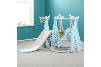 3 in1 Kids Slide Swing Basketball Ring Activity Center Toddlers Playground Toy Blue