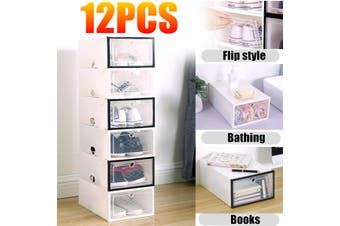 12PCS Plastic Shoe Box Flip-drawer Transparent Shoe Rack Storage Stackable Organiser Display