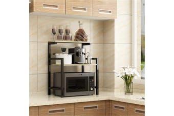 2 Tier Kitchen Organizer Microwave Oven Stand Shelf Storage Rack Furniture Holder (black,Black Wood)