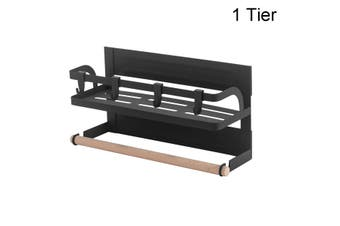 1-2-Tier Refrigerator Side Hanger Rack Magnetic Storage Shelf with Paper Towel Holders and 4 Hooks