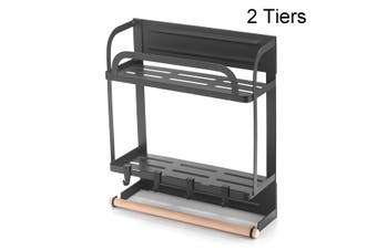2-Tier Refrigerator Side Hanger Rack Magnetic Storage Shelf with Paper Towel Holders and 4 Hooks