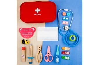 15Pcs Doctor Nurse Playset Kids Educational Wooden Toy Set First Aid Kit