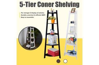 5-Tier Stylish Corner Shelf Wall Shelves Display Rack Stand Home Decor Bookcase(brown)