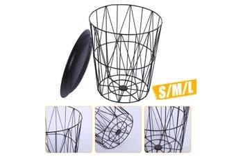 Black Metal Wire Basket Wooden Top Side Table Storage Loft Living Home Furniture