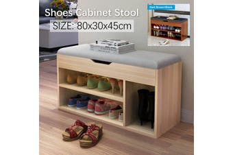 80x30x45cm Multifunctional Wooden Shoe Storage Rack Shoe Cabinet Stool + Padded Seat(light brown)