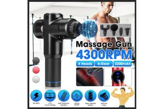 LCD Massage Machine Percussion Massager Muscle Relaxing Therapy Deep Tissue 4 Heads