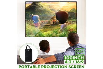 100inch Portable Foldable 16:9 / 4:3 Projector Screen HD Home Theater Projection