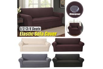 【4 colors】2-piece Set Waterproof Elastic Stretch Sofa Cover Waffle Fabric Solid Color