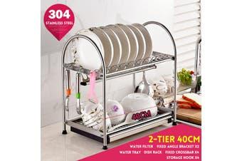 2/3 Tier Dish Drainer Rack Storage Dish Rack Kit Drip Tray Sink Drying Draining