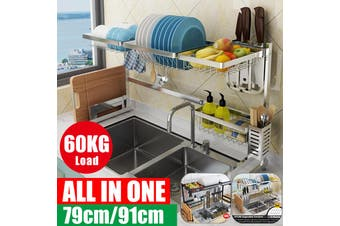 2 Tier Dish Drainer Stainless Steel Cutlery Draining Holder Plate Rack Sink 65cm/79cm/91cm 304 Safety Stainless Steel Kitchen Shelf Rack Drying Drain Storage Holders Plate Dish