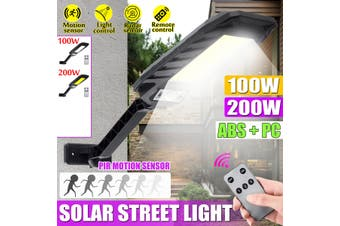 100W/200W 450LM PIR Motion Solar Street Light LED Outdoor Garden IP65 Security Road Lamp