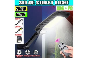 100W/200W 450LM PIR Motion Solar Street Light LED Outdoor Garden IP65 Security Road Lamp