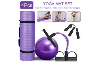 5Pcs Yoga Mat Set Pedal Tension Rope Pilates Ball Exercise Fitness Gym Workout