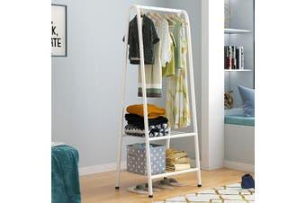 Iron Freestanding Garment Rack Clothes Storage Organizer Hanging Shelf Home