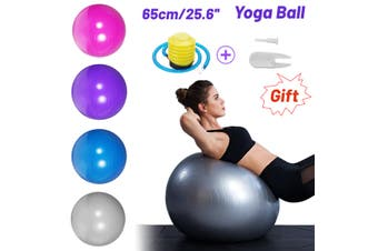 65cm Yoga Ball PVC Thicken For Pilates Yoga Fitness Sport Anti-Slip Pregnancy Birthing Exercise Fitness Massage Gym Portable Ball - Free Pump