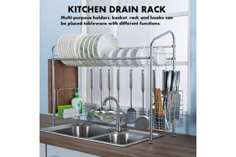 Stainless Steel Dish Rack Over Sink Multi-purpose Dish Drying Rack Kitchen Shelf Storage Dish Drain Rack with Basket + Chopstick Holder + Cutting Board Rack + Hook