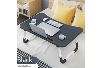Folding Laptop Stand Holder Portable Study Table Desk Foldable Computer Desk with groove to stand your book or tablet-- Blue / Pink / Black / Wood Color(black,1 Set (WithCup Slot))