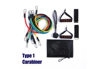 11pcs Durable Resistance Band Yoga Pilates Abs Fitness Tube Carabiner Indoor Fitness