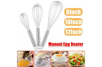 【8/10/12 inch】(1pc) Portable Stainless Steel Handle Manual Egg Beater Mixer Kitchen Cooking Gadget Hand Whisk Tool Egg Stirring Mixer Balloon Milk Coffee Beater For Baking Cake Making(12 inch)