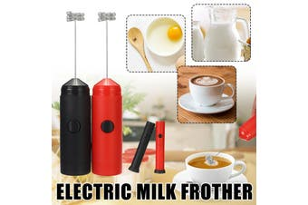 【Battery-operated】(BLK/RED) Mini Electric Handheld Mixer Portable Egg Beater Milk Frother Foam Cream Maker Drink Foamer Hand Whisk Tool Stirring Mixer For Coffee Art Kitchen Baking(black,With head)