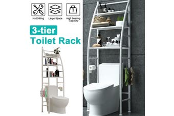 Over The Toilet Rack 3 Tier Bathroom shelf Space Saver Towel Storage Organizer -- White