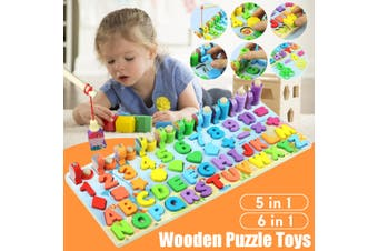 Wooden Math Puzzle Toys Fishing Numbers Mathematical Geometry Learning Kids Home Indoor Hand-Eye Coordination Educational Games Gift