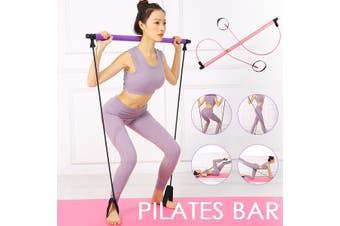 Yoga Pilates Bar Portable Resistance Band Expand Exercise Stick Gym Home Fitness Sport Pink