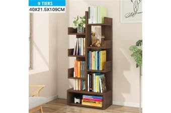 9Tiers Floor Bookcase Storage Shelves Organizer Display Stand Holder