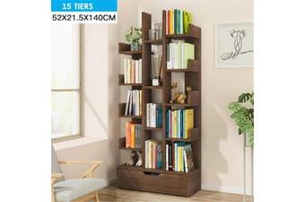 6/9/11/15 Tiers Floor Bookcase Storage Shelves Organizer Display Stand Holder