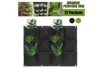 12 Pockets Hanging Planting Bag Wall-Mounted Garden Flower Grow Planter Pouch