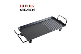Electric Teppanyaki Table Top Grill Griddle BBQ Hot Plate Barbecue(EU Plug 48x28CM)