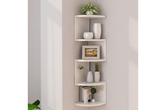 5 Tier Corner Wall Shelf Display Shelves DVD Book Floating Mounted Storage Rack 20x20x86cm -- Black / White / Black and white