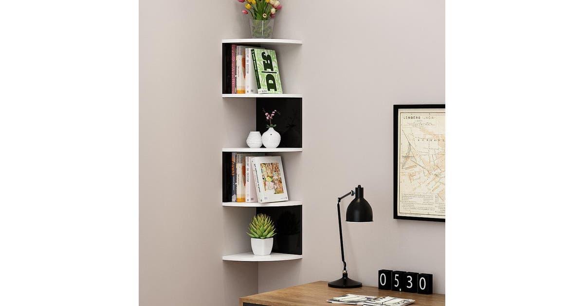 yeksuper 5 tier corner wall shelf display shelves dvd book floating mounted storage rack 20x20x86cm black white black and white poa