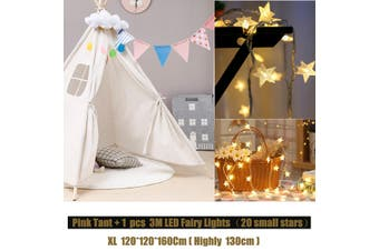 3M Fairy Lights + Cotton Large Teepee Tent Kids Playhouse Wigwam Play Tent Gifts