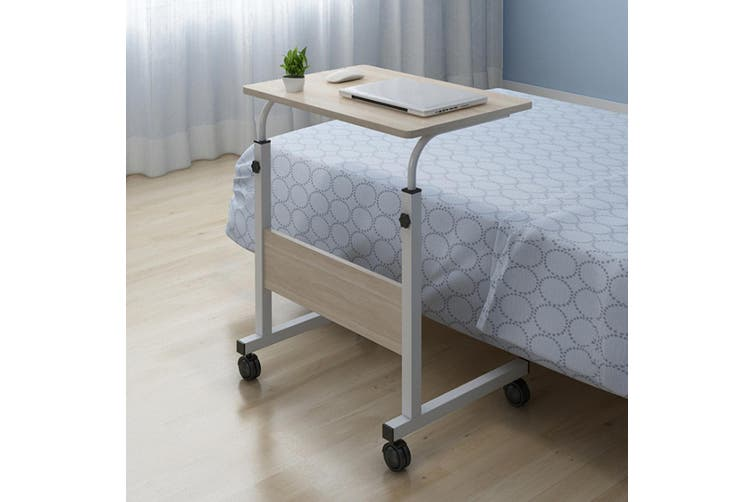 Movable Adjustable Laptop Table Bedside Study Computer Desk for Bedrooms with Detachable Wheels