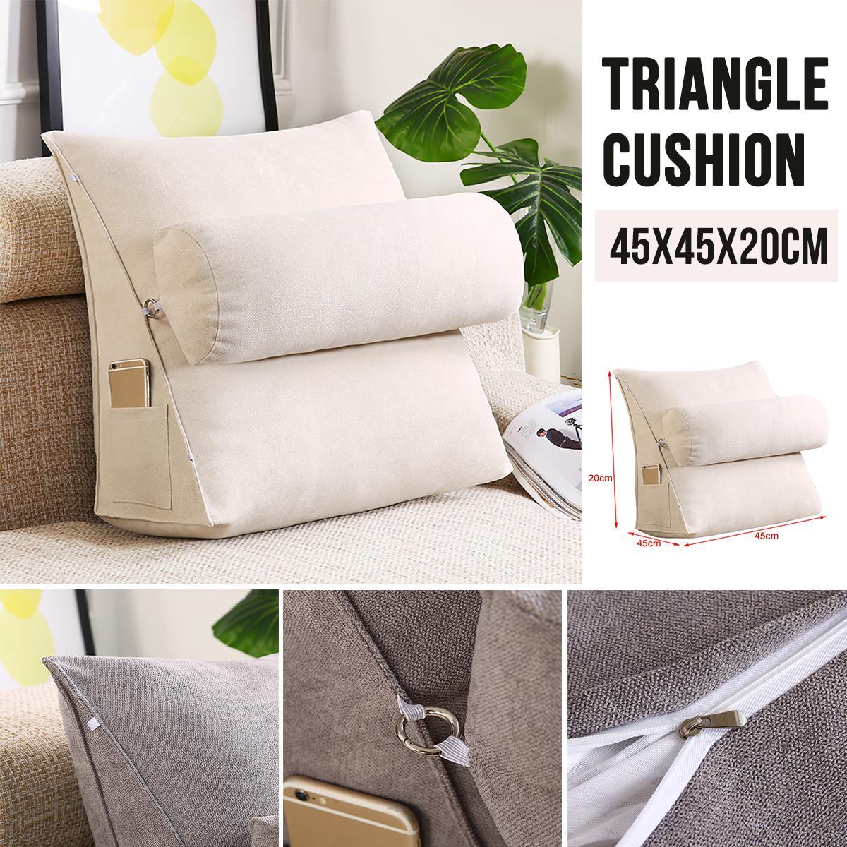 Picture of: 45cm Wedge Back Pillow Rest Sleep Neck Home Sofa Bed Lumbar Office Cushion Matt Blatt