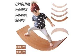 Kids Balance Board Wobble Wooden Yoga Board Curvy Board Wooden Rocker Board【Ash lacquer large】