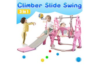 Slide Swing Combination Set, 3 in 1 Indoor Outdoor Sports Climber Toddler Kids Jungle Gym Gifts With Basketball Hoop Lapping(pink)