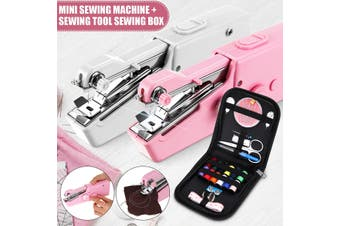 Home Travel Mini Portable Sewing Machine Handheld Cordless Quick Clothes Stitch