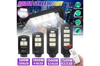 2500W/1500W/1000W/500W LED Solar Street Light Wall Lamp LED Motion Powered Outdoor Sensor PIR Garden Button + Light +Timming + Remote Control