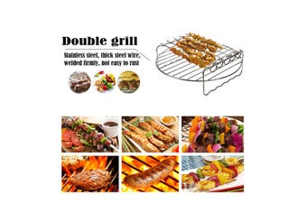 7/8/9inch Double Layer Rack with Skewers And Metal Holder for Air Fryer(9 inches)